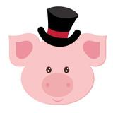 beautiful flat illustration pig