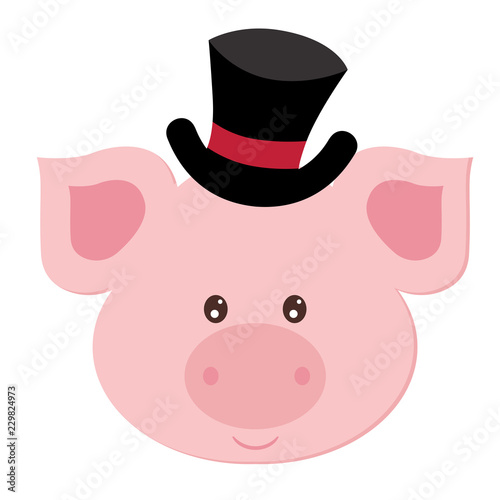 beautiful flat illustration pig