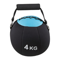 soft round weight for sports, dumbbell for bodybuilding with a handle, on a white background, isolate © aneduard