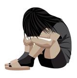 Violenza domestica, bambina in un angolo, donna depressione, maltrattamento, picchiare, ragazza, bambina, violenza sulle donne