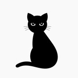 Black cat isolated on white - 229829985