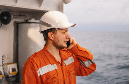 Marine Deck Officer or seaman on deck of vessel or ship   He is