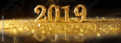 2019 in sparkling gold numbers celebrating the New Year