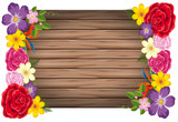 Flowers wooden frame concept