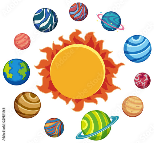 Set of planets and sun - 229854568