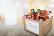 Box Full of Toys and Bears
