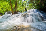 Huai Mae Khamin waterfall at Kanchanaburi , Thailand , beautiful waterfall, forest,