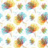 Watercolor tropical palm leaf pattern - 229875715