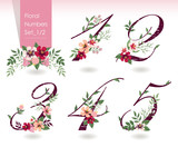 Vector illustration of floral numbers collection in spring. A set of beautiful flowers and numbers for wedding, invitations and birthday cards