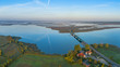 Leinwanddruck Bild Luftbild Peenestrom mit Zecheriner Brücke