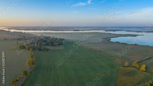 Leinwanddruck Bild Luftbild Landschaft am Peenestrom