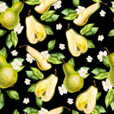 Watercolor Pattern with pears and flowers.  - 229882725