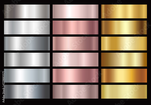 Gold rose, silver and golden foil texture gradation background set. Vector shiny and metalic gradient collection for border, frame, ribbon, label design.