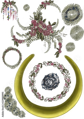 a set of details with round frames with flowers, leaves, jewelry details and emroideries - 229889995