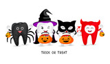 Cartoon spooky tooth with candies. Trick or treat, Halloween concept. Illustration isolated on white background. - 229896120