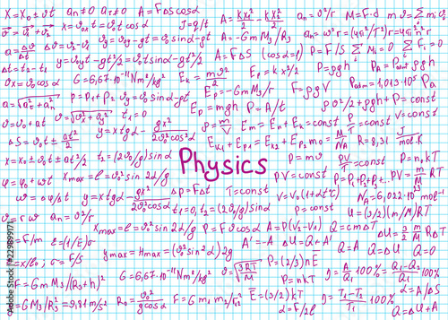 Physics formulas drawn by hand on the black chalkboard for the