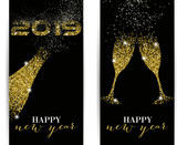 Fototapety 2019, Happy New Year, Gold, Glitter