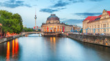 Pretty night time illuminations of the Museum Island in Berlin, Germany. - 229904133