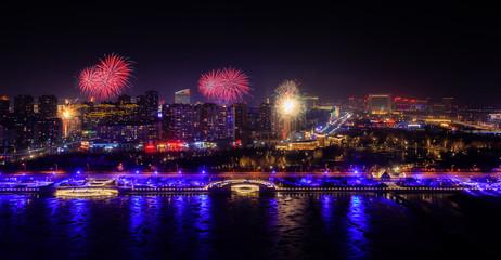 Neujahr in China mit Feuerwerk