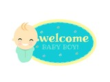 Welcome baby boy celebration.vector illustrator