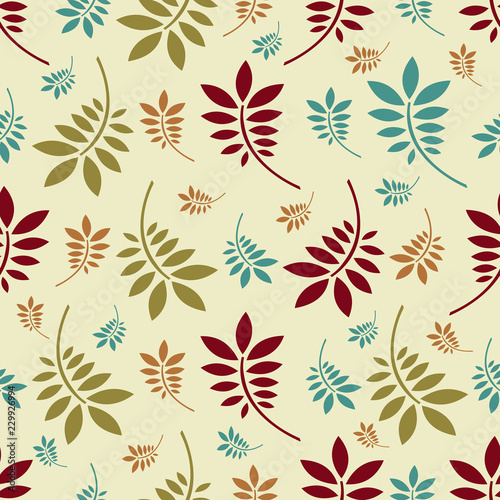 Seamless pattern with plant pattern from leaves. - 229926994