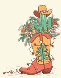 Cowboy boot with Christmas elements isolated on white.Vector hand drawn color illustration - 229927310