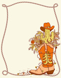 Cowboy boot with Christmas elements .Vector hand drawn color illustration for text