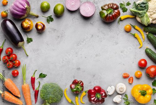 Fresh farm market vegetables on gray background - 229928314