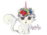 White kitten unicorn