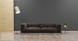 Living room with leather sofa have pillows, , lamp and plant on empty dark gray wall background , Minimal Rustic, 3D Rendering