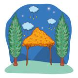 wooden manger cartoon - 229937160