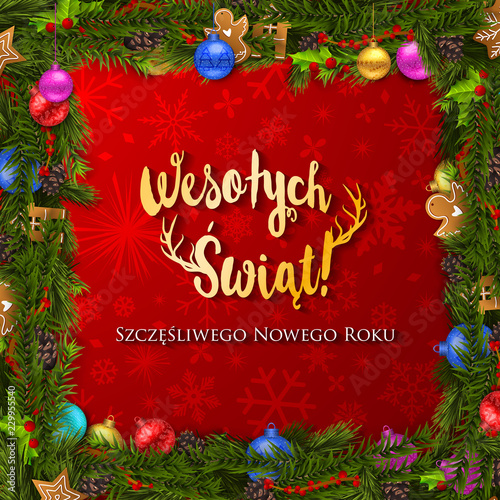 Polish Christmas and Happy New Year greeting card