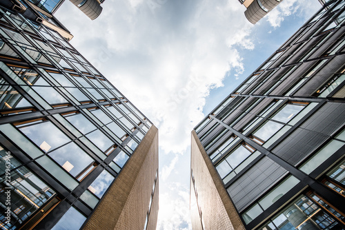 Apartment houses with cloudy sky