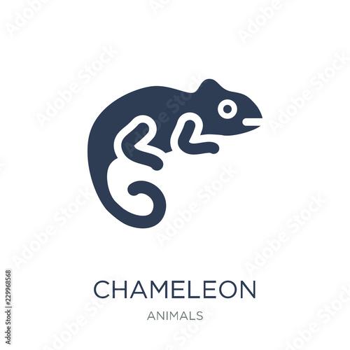 Ikona kameleona. Modny płaski wektor Ikona kameleon na białym tle z kolekcji zwierząt
