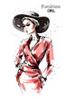 Hand drawn beautiful young woman in red dress. Stylish elegant girl in hat. Fashion woman portrait. Sketch.