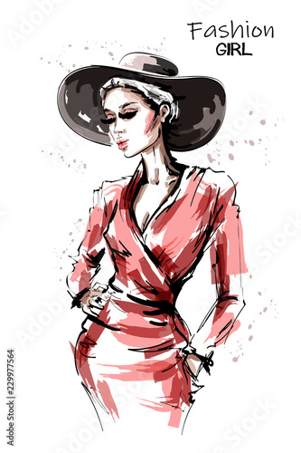 93526bf46 Hand drawn beautiful young woman in red dress. Stylish elegant girl ...