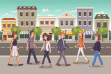 Street of a colorful city with cartoon business people  - 229979111