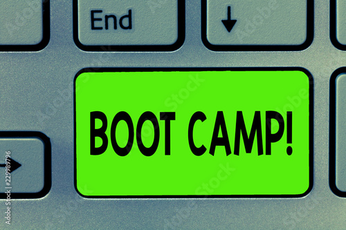 Leinwanddruck Bild Handwriting text writing Boot Camp. Concept meaning Military training camp for new recruits Harsh discipline Fitness.
