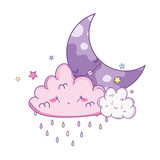 Clouds and moon cute cartoons