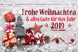 Leinwandbild Motiv Frohe Weihnachten und alles Gute für das Jahr 2019  - Grußkarte