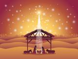 christmas desert scene with holy family in stable - 229997528