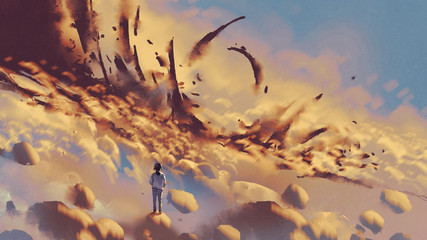 surreal scenery showing the girl looking at mysterious things on clouds, digital art style, illustration painting © grandfailure