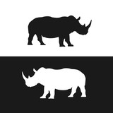 Rhino black and white silhouettes vector - 230025363