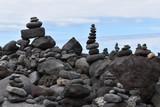 Stacked stone figures on the beach playa jardin in Tenerife in Puerto de la Cruz in Europe - 230032372