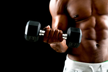 man big muscles doing exercises © pigprox