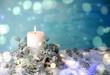 Leinwanddruck Bild - Weihnachtskarte - Adventskerze weiß / türkis