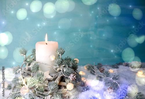 Leinwanddruck Bild Weihnachtskarte - Adventskerze weiß / türkis