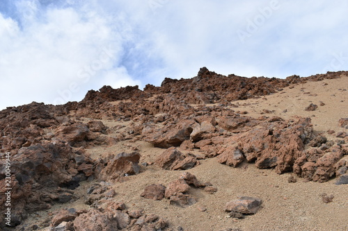 Hiking trail to the big famous volcano Pico del Teide in Tenerife, Europe