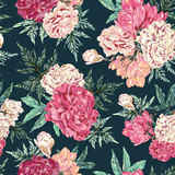 Seamless Pink Peony Seamless Vector Wallpaper - 230056973