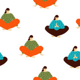 Women yoga seamless pattern. Vector hand drawn illustration. - 230058137